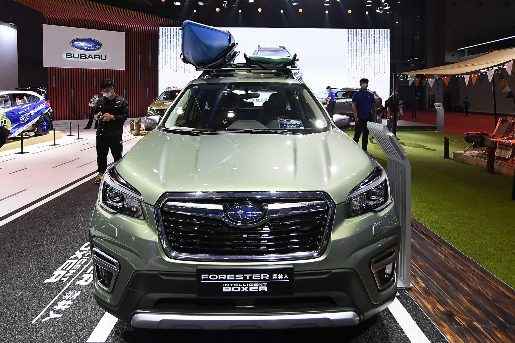 The green Subaru Motor Forester car is on displayed during the 19th Shanghai International Automobile Industry Exhibition