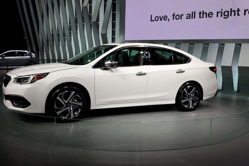 White 2020 Subaru Legacy is on display at the 111th Annual Chicago Auto Show at McCormick Place