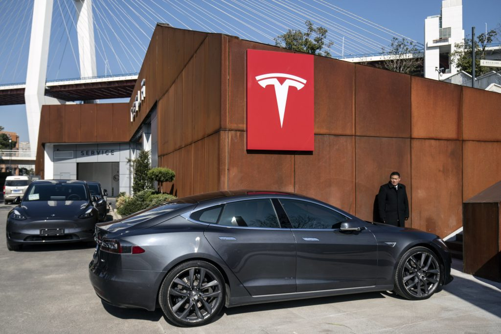 A gray Tesla Inc. Model S electric vehicle at the automaker's showroom in Shanghai, China