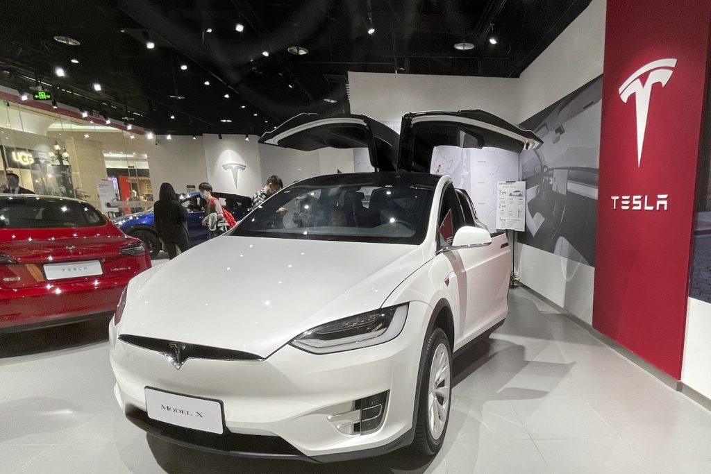 A white Tesla Model X