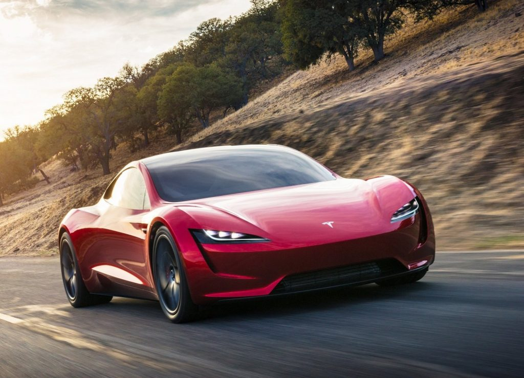 An image of a Tesla Roadster outdoors.