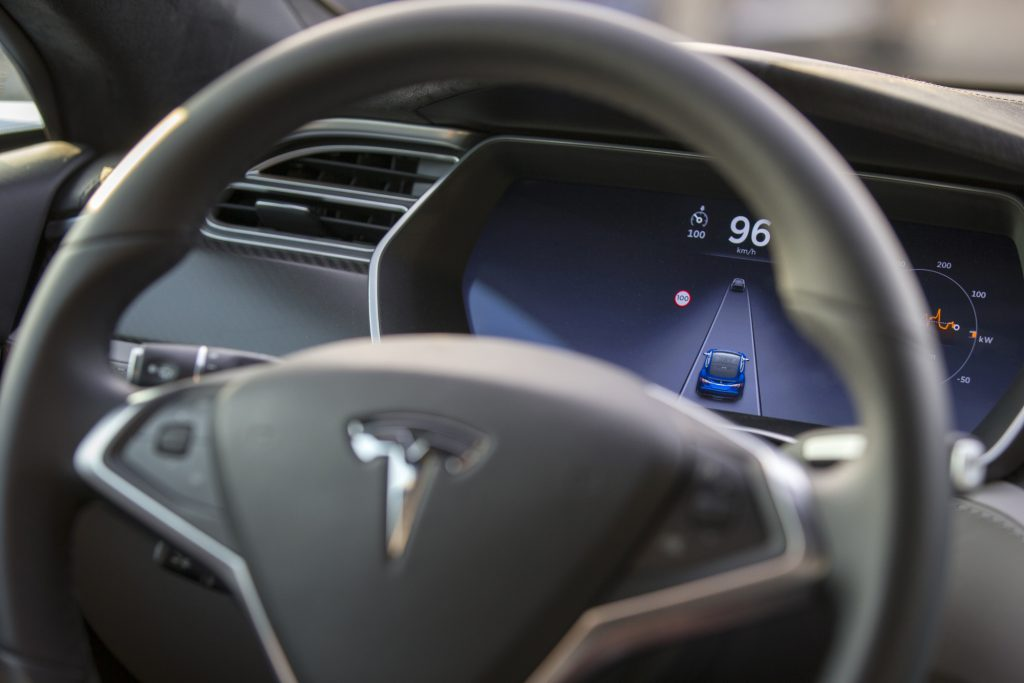 The interior of a Tesla Model S