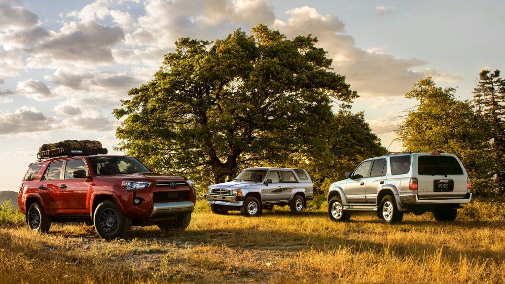 Three 2021 Toyota 4Runner SUVs parked in a field