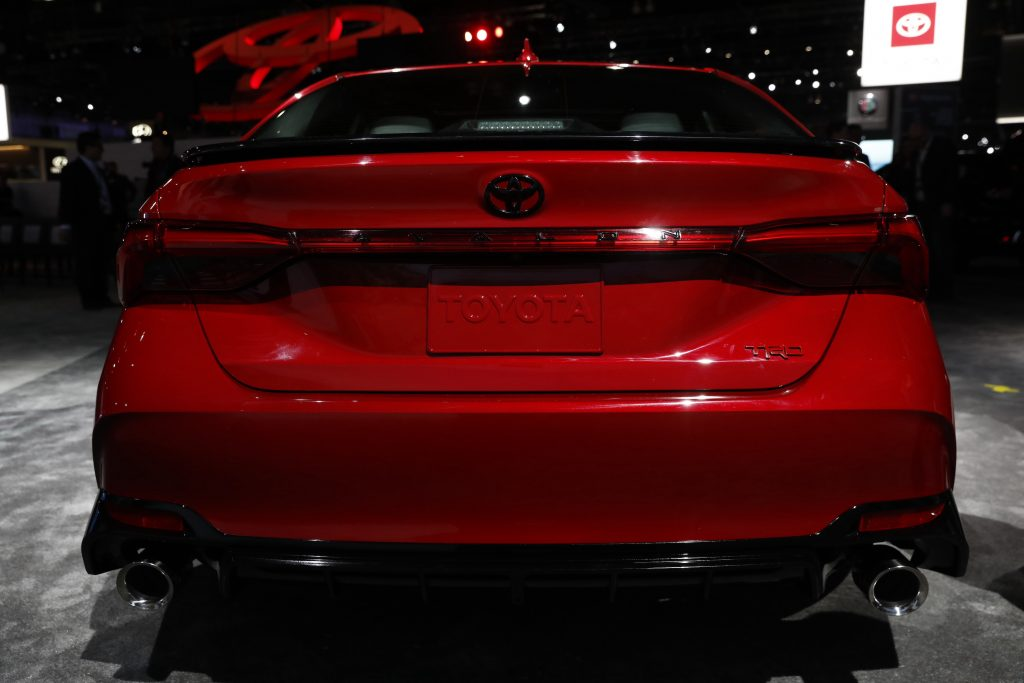 The red Toyota Motor Corp. Avalon TRD vehicle is displayed during AutoMobility LA ahead of the Los Angeles Auto Show