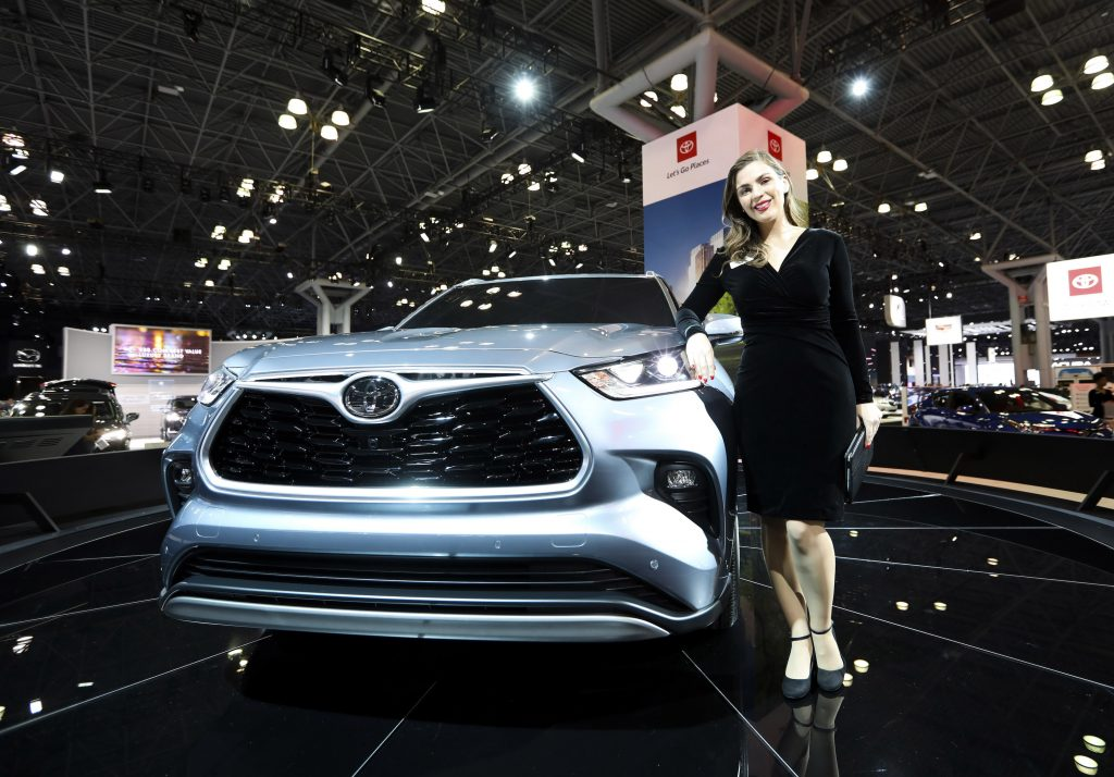 Toyota's all-new silver 2020 Toyota Highlander is seen during the media preview of the 2019 New York International Auto Show