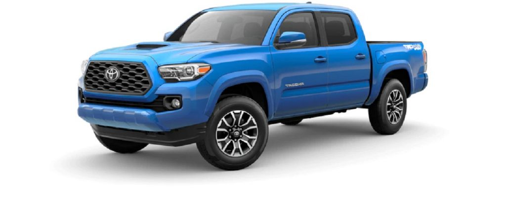 A blue 2021 Toyota Tacoma; is it safer than the Honda Ridgeline?