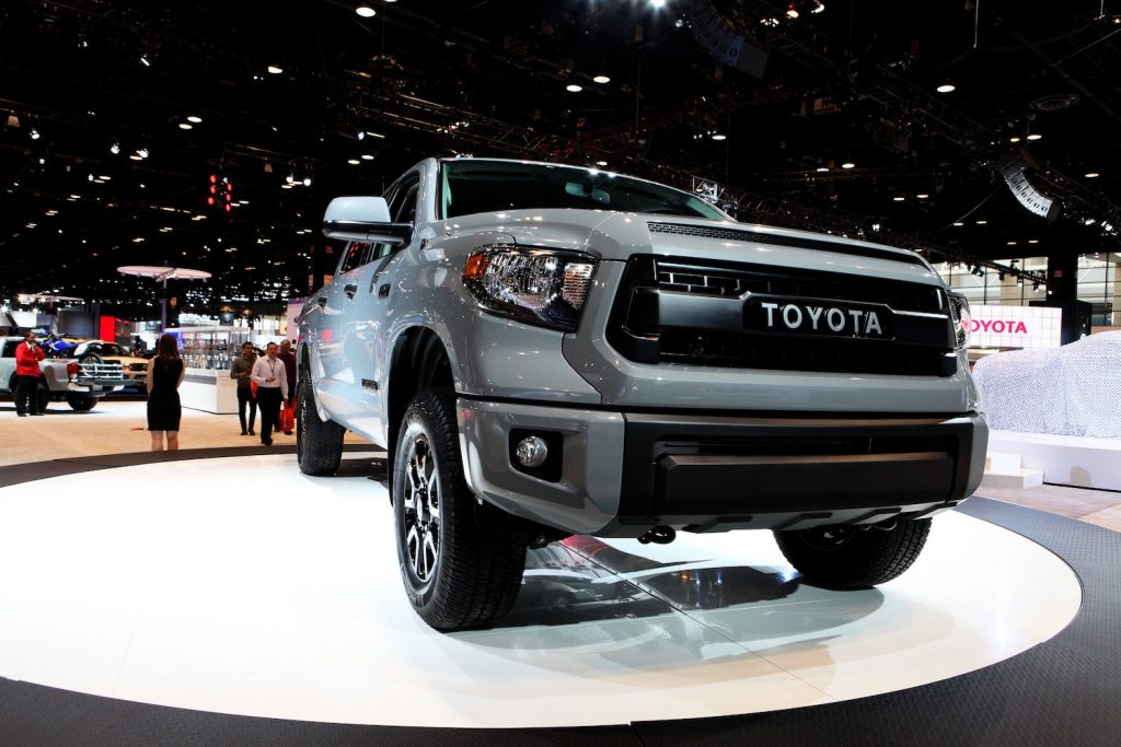 A grey Toyota Tundra at an auto show