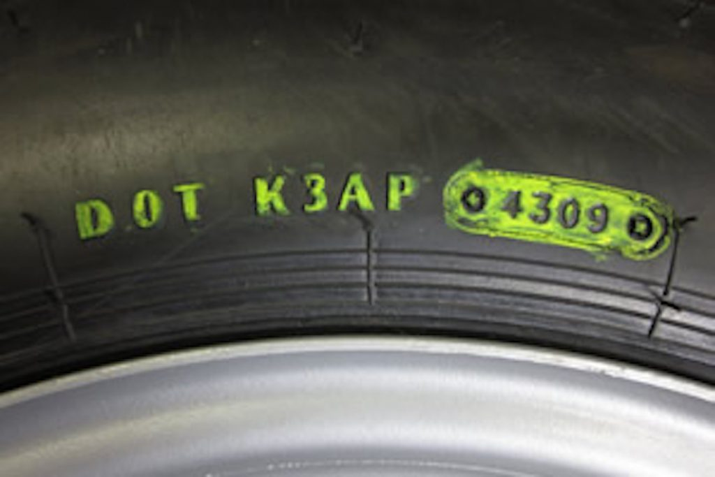 DOT numbers on an RV tire