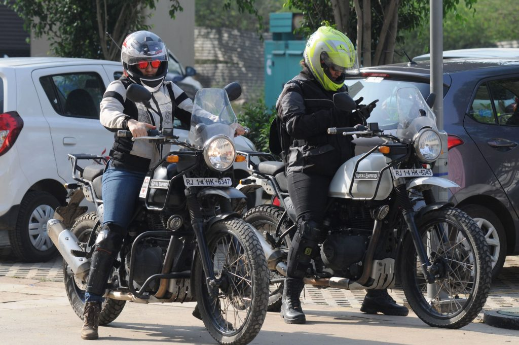 Two female riders on Royal Enfield Himalayans celebrating International Female Ride Day 2019 in Gurugram, India