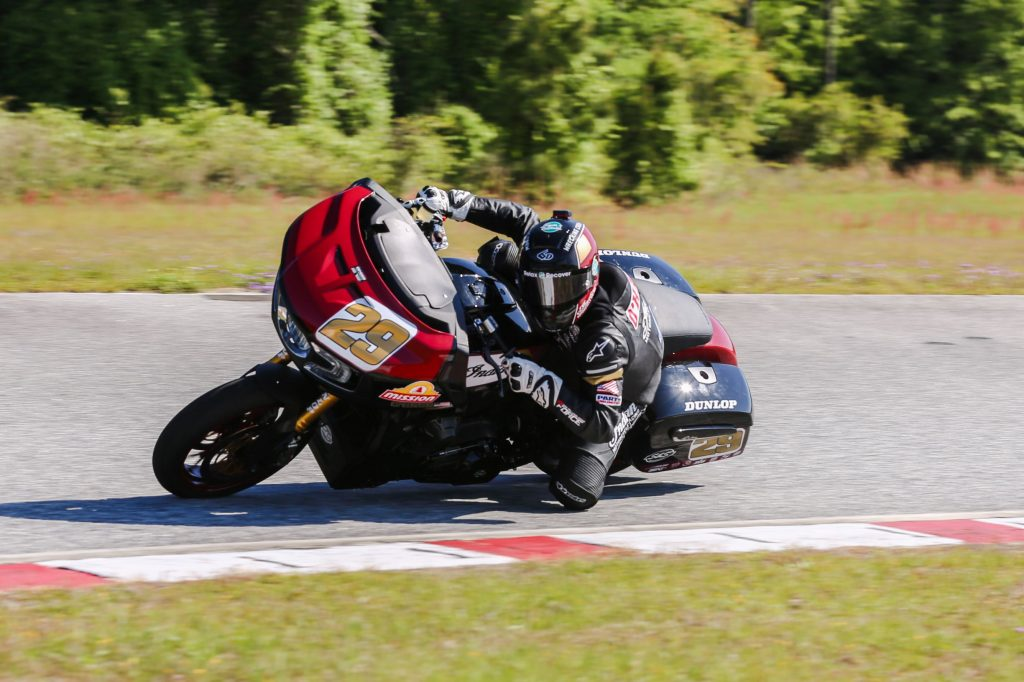 Tyler O'Hara takes a corner on the black-and-red 2021 S&S King of the Baggers Indian Challenger