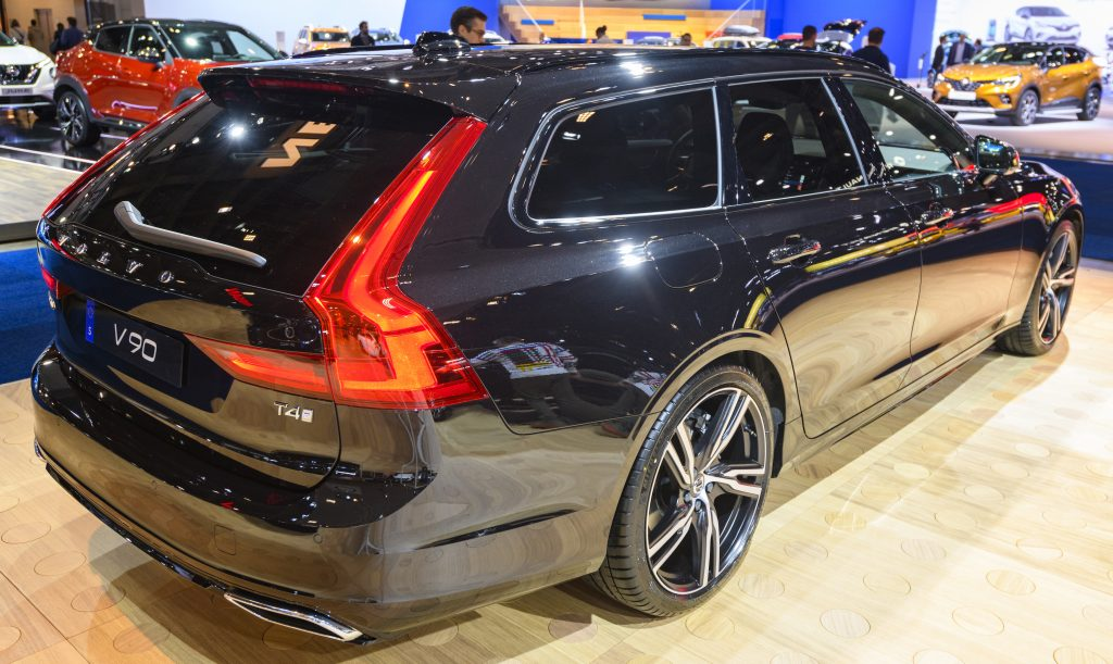 Volvo V90 T4 luxury estate car on display at Brussels Expo on January 9, 2020 in Brussels, Belgium. The Volvo V90 is available as stationwagon and as executive sedan