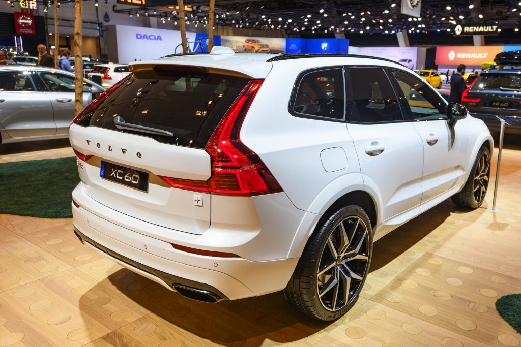 Volvo XC60 crossover SUV car on display at Brussels Expo