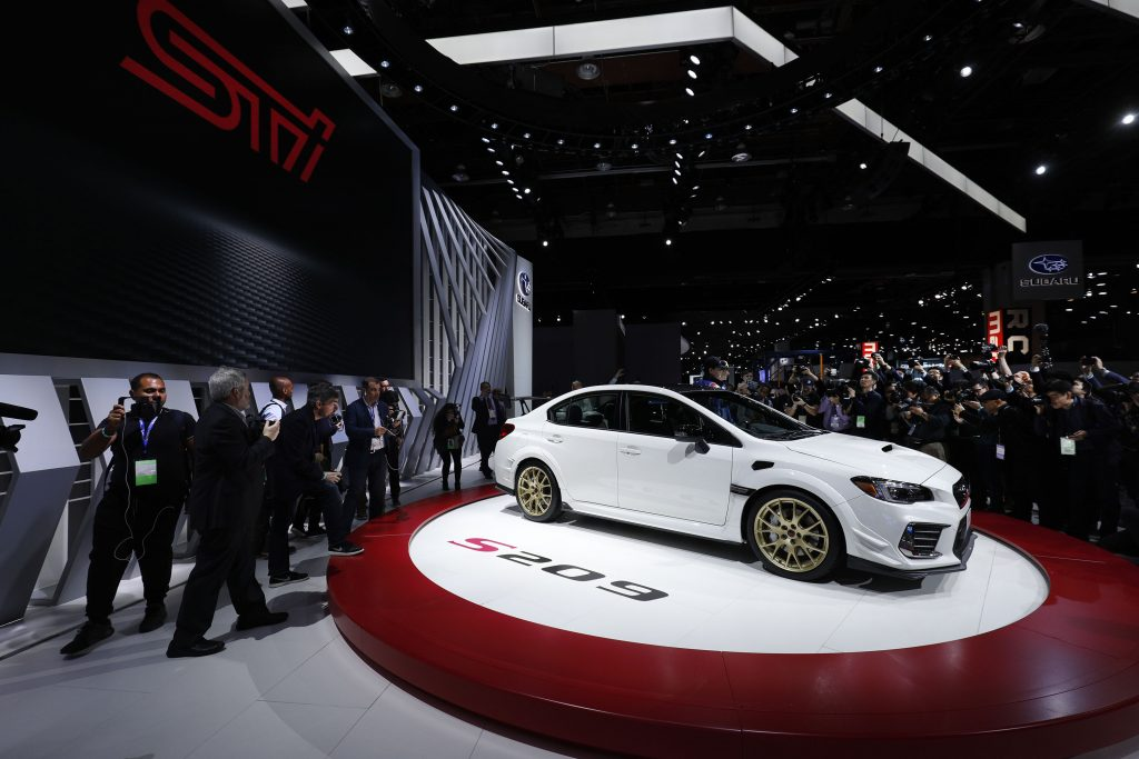 The white Subaru WRX STI S209 is revealed at the 2019 North American International Auto Show during Media preview days