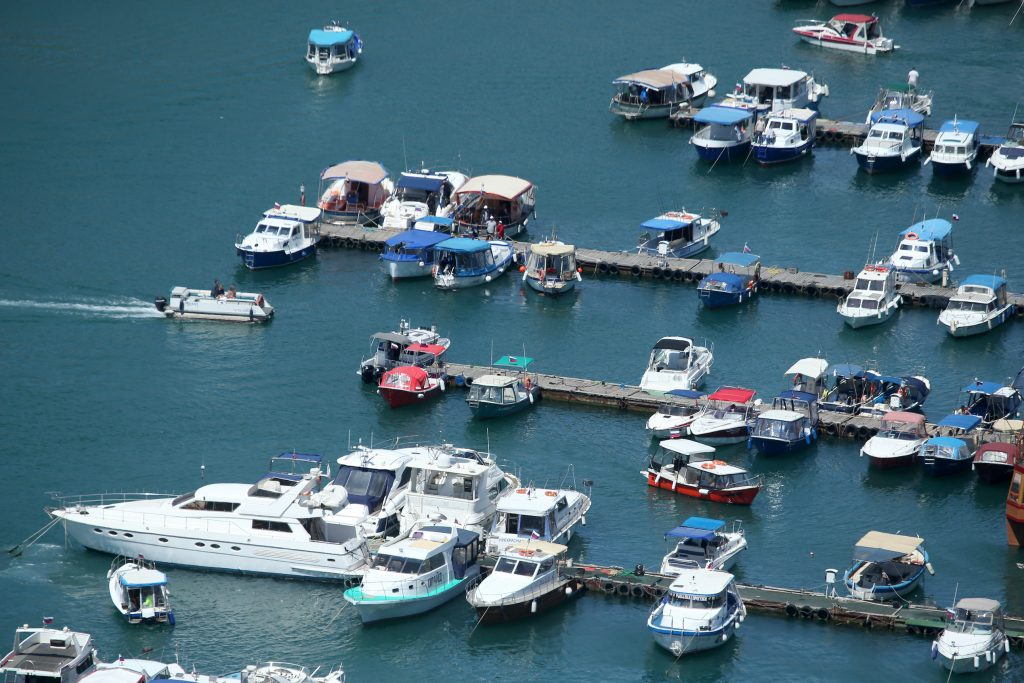Yachts and boats are pictured on the water at the docks in the town of Balaklava