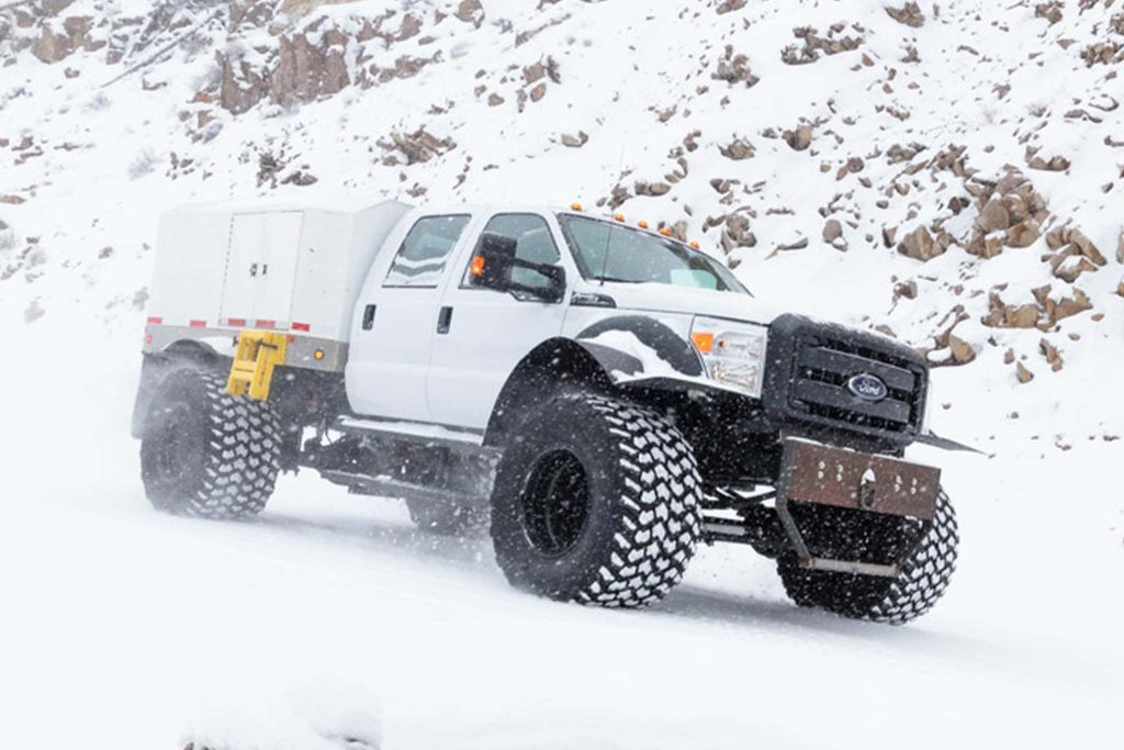 Yellowstone National Park Ford F-550 Super Duty mail truck in the snow