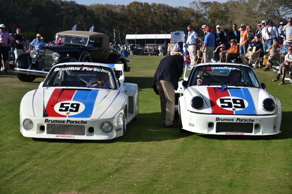 Two Porsche AG Brumos race vehicles during the 2017 Amelia Island Concours d'Elegance