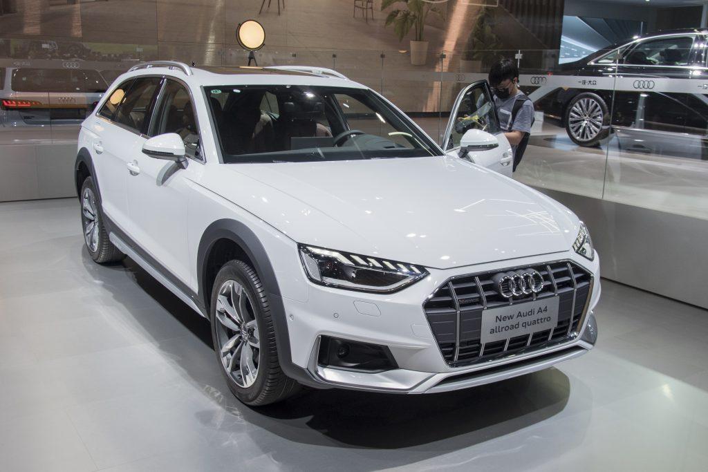 A white Audi A4 Allroad Quattro