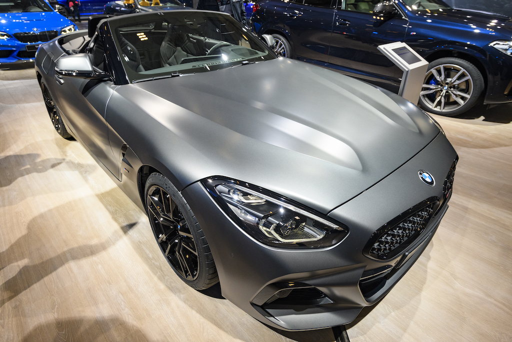 BMW Z4 M40i Roadster compact convertible on display