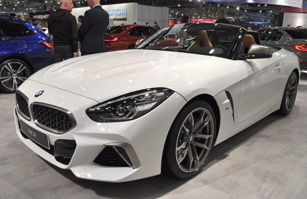 A white BMW Z4 on display