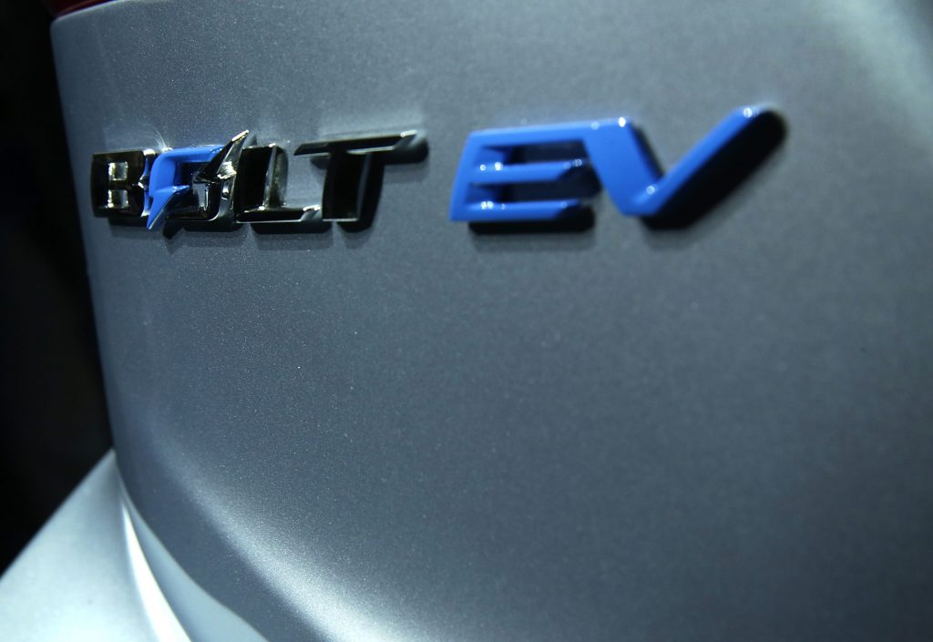 The badge of the Chevy Bolt EV