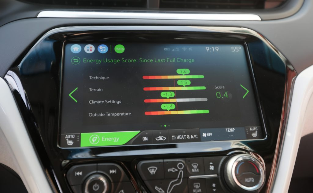 The Chevy Bolt's infotainment screen showing battery usage