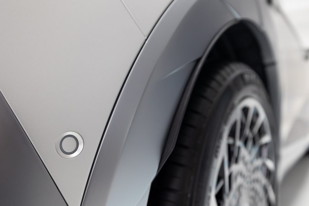 A parking sensor on a Hyundai Ioniq 5 electric vehicle (EV).