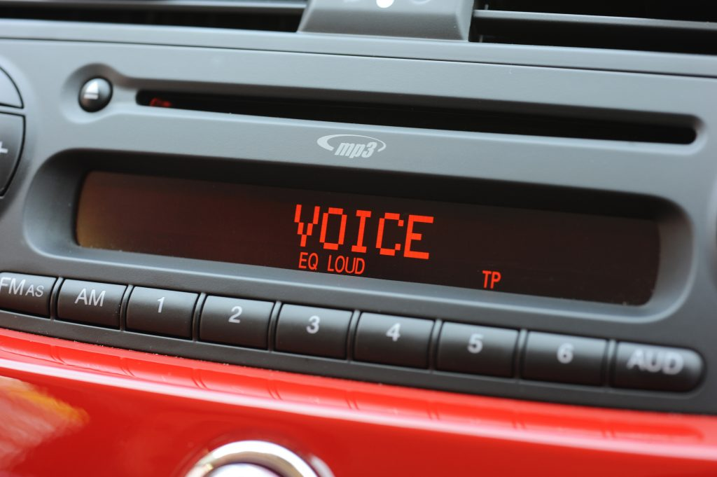 The digital display of a car radio