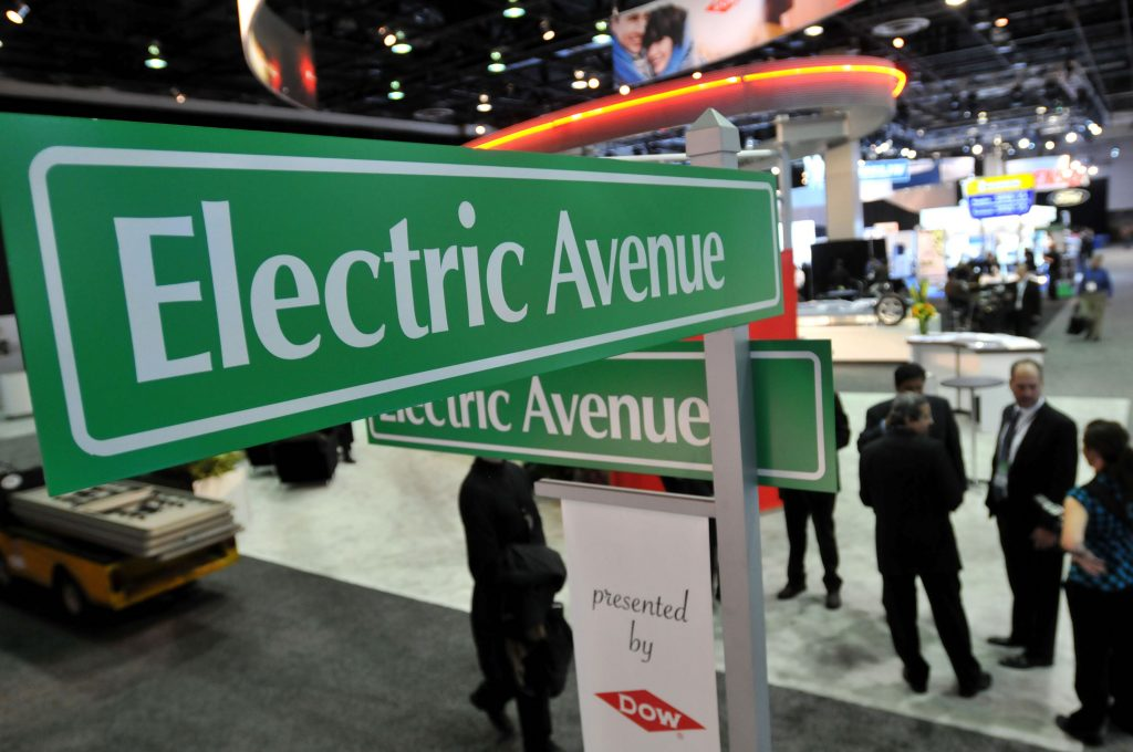 A green street sign reading: Electric Avenue