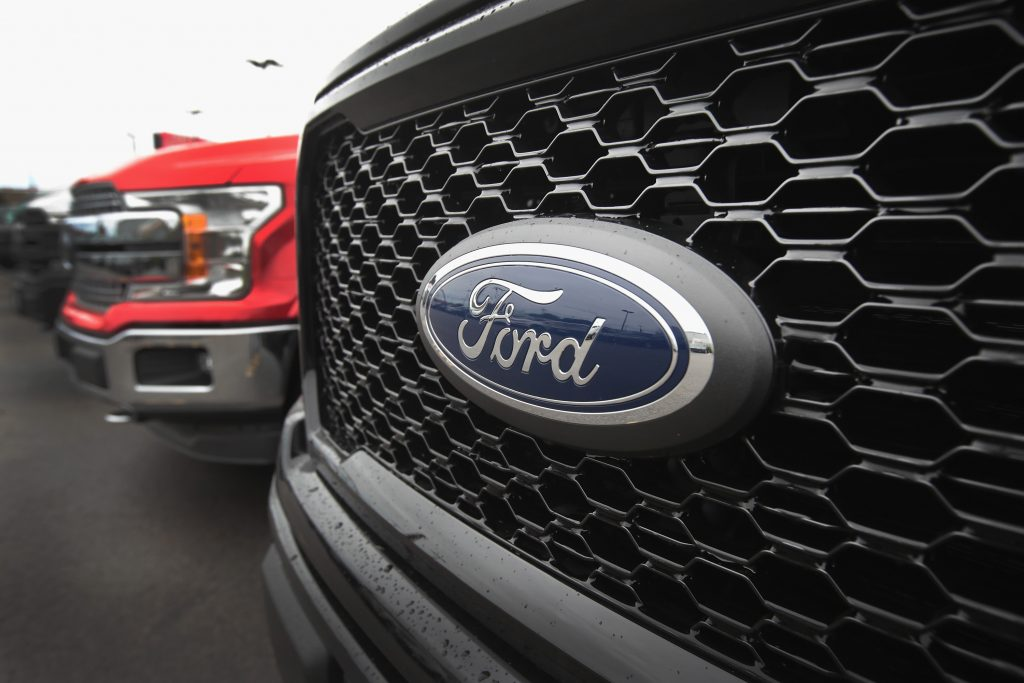 Ford F-150 grille and badge up close