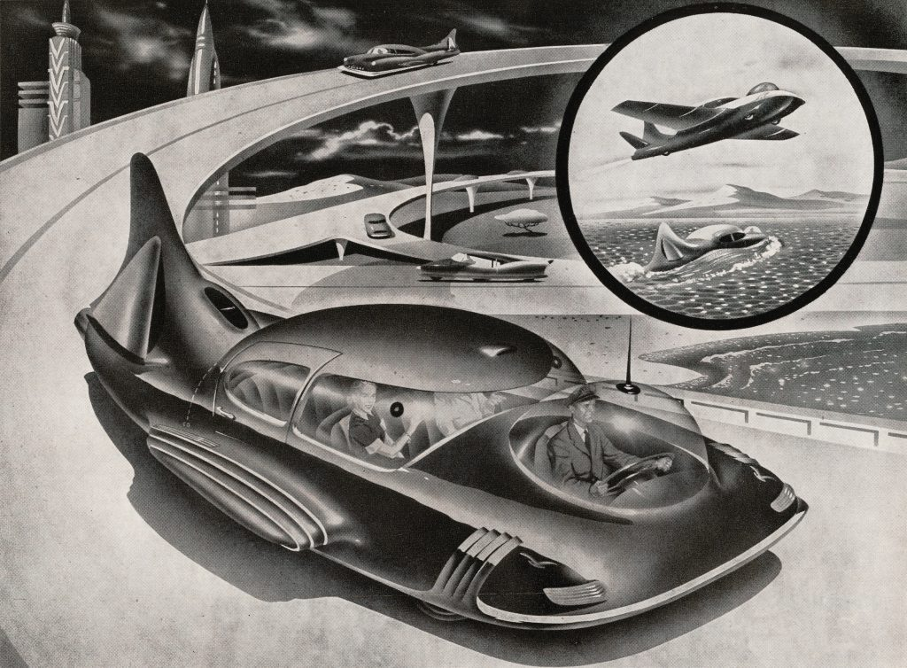 Retro illustration of a couple being driven in a futuristic electric car that drives on the road, flies in the air, and functions as a boat