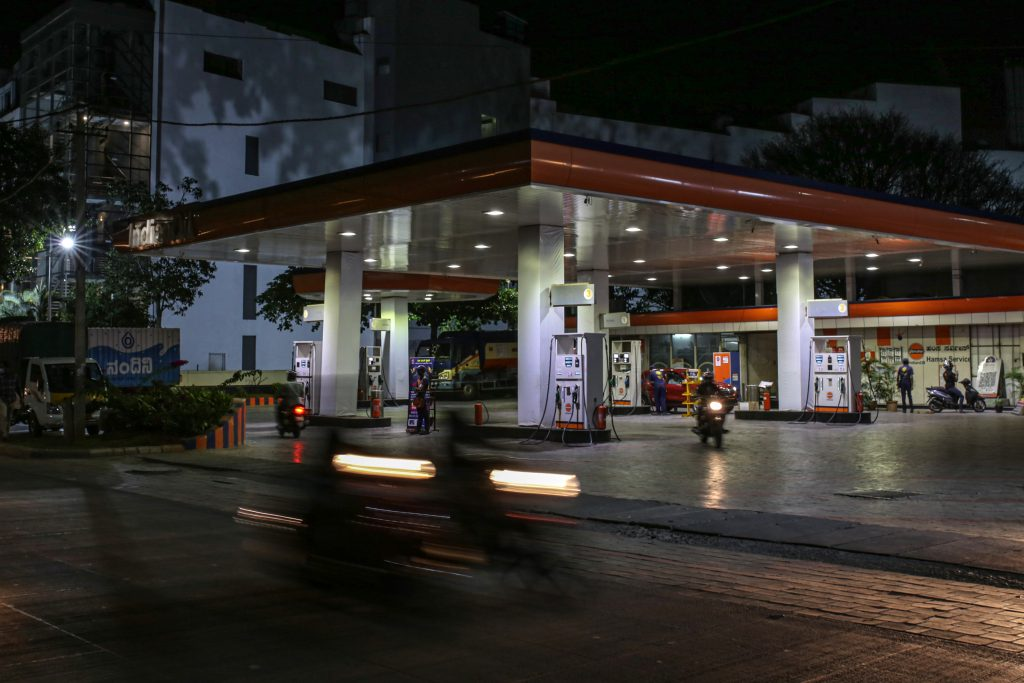 A empty gas station at night