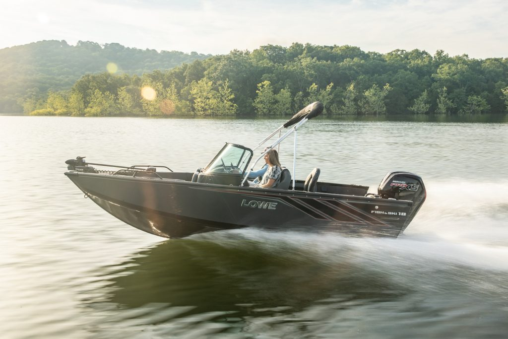 A Lowe FS 1800 on the water, the Lowe FS 1800 is an affordable new boat under $30,000