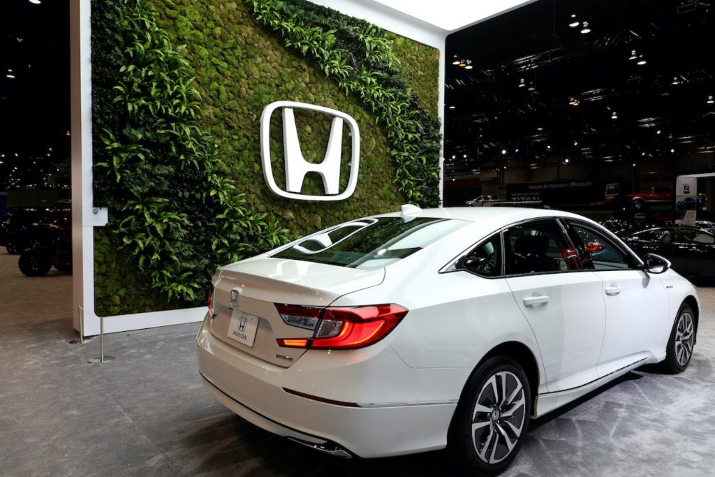 White Honda Accord Hybrid on display at the Chicago Auto Show
