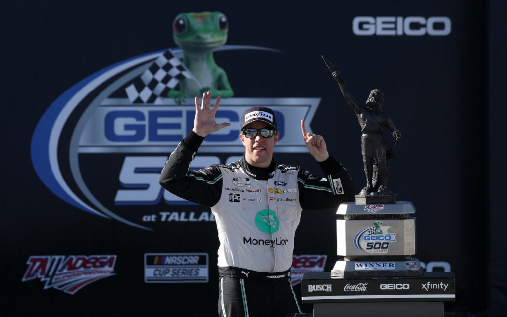 Brad Keselowski after winning the Geico 500