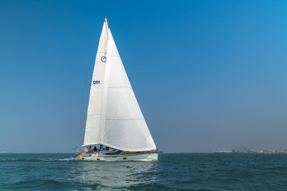 The Kraken50 sailing yacht sailing near shore