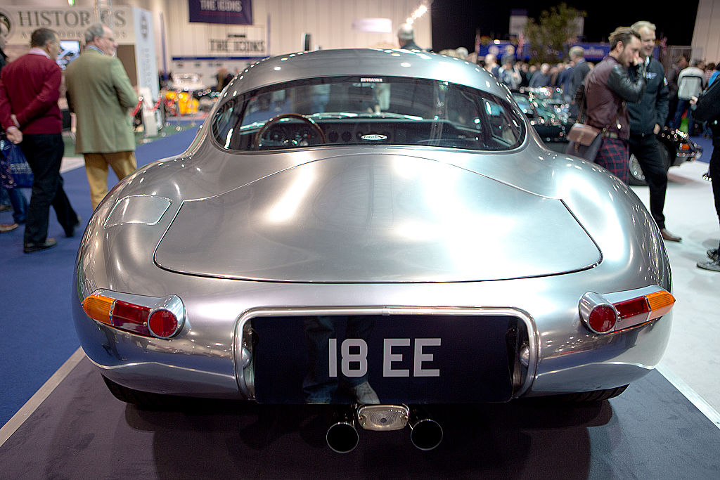 The rear of the Eagle Low Drag GT, a restomodded Jaguar E-Type shown under a lightbox.