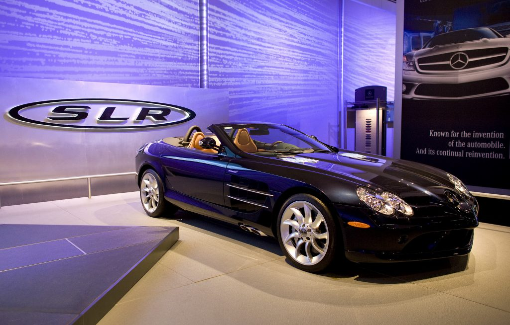 A black Mercedes-Benz SLR McLaren Roadster