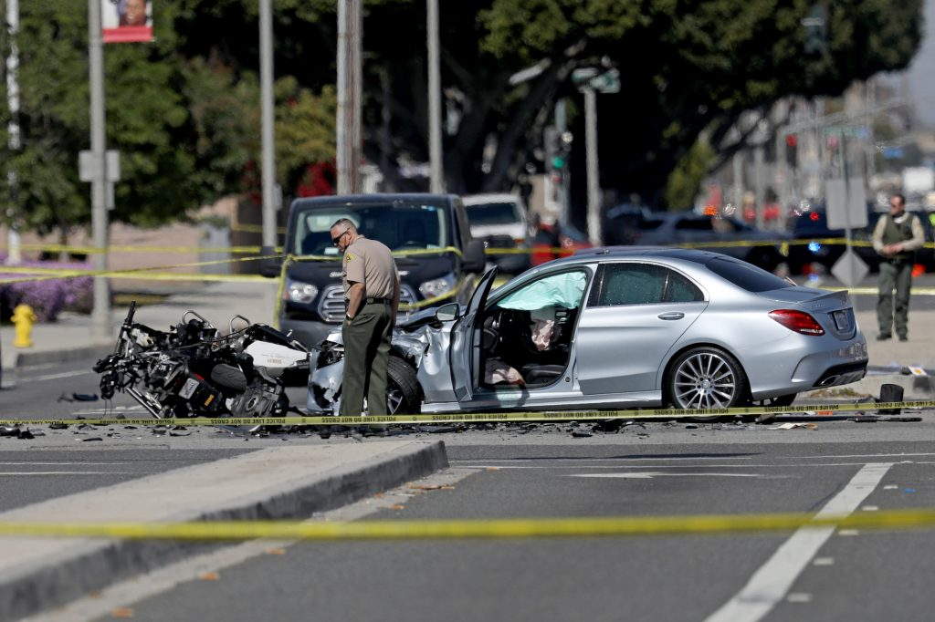 The scene of a crash that killed a Los Angeles County Sheriff's Department motorcycle deputy on Thursday, February 25, 2021, in Lakewood, California