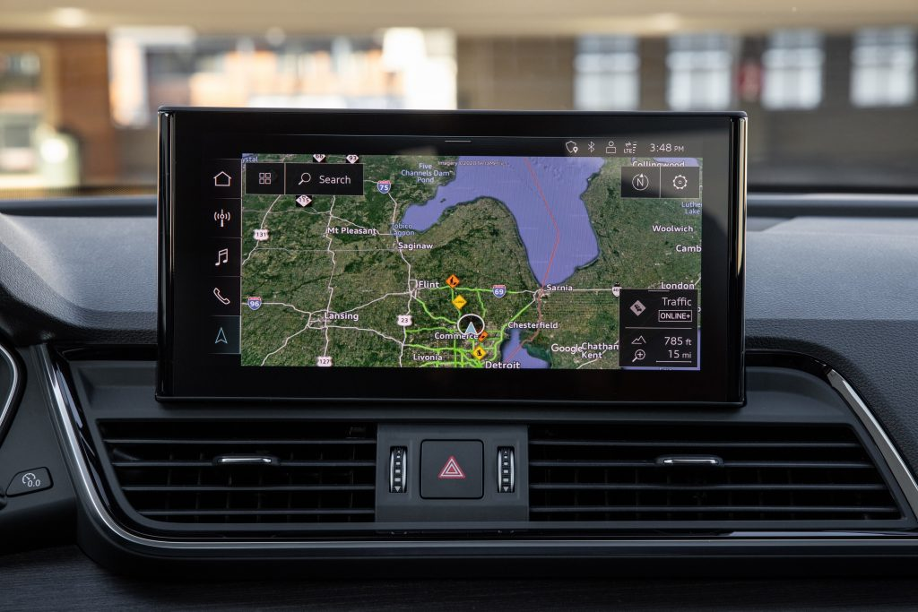 An image of the Audi Q5's navigation screen at a press event.