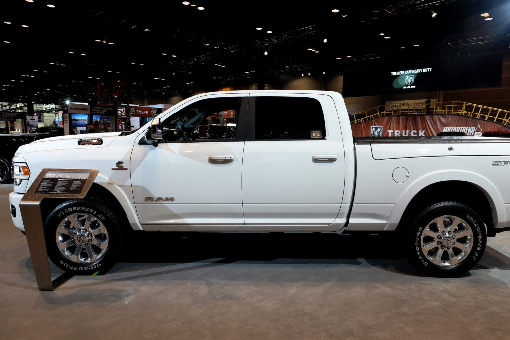 A white Ram 2500 pickup truck in display
