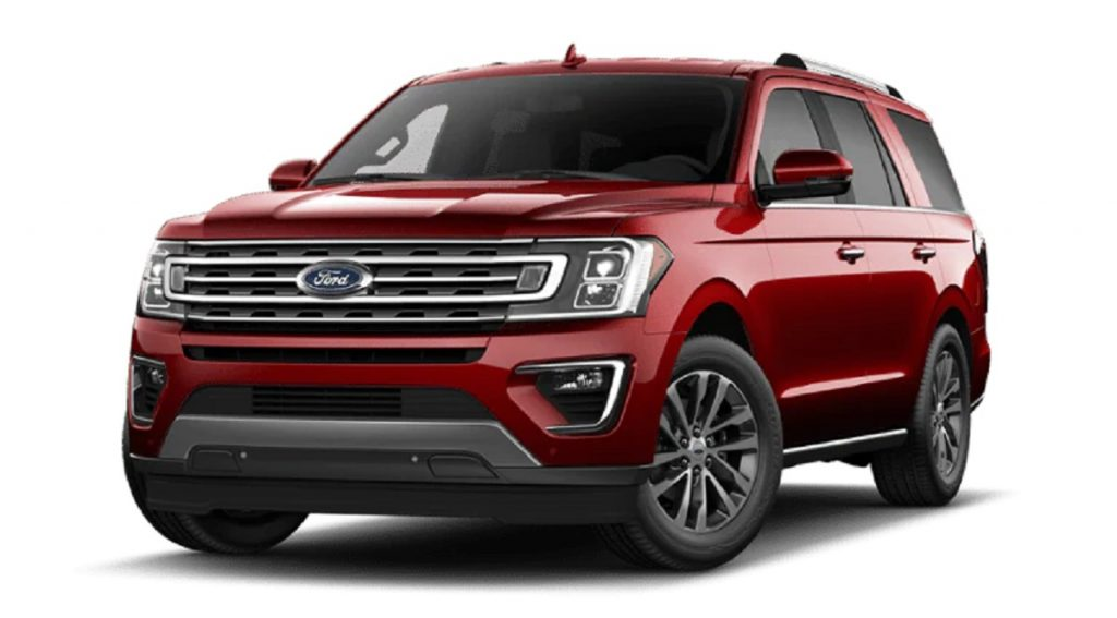 A red 2021 Ford Expedition. The Expedition is slightly safer than its luxury counterpart, the 2021 Lincoln Navigator.