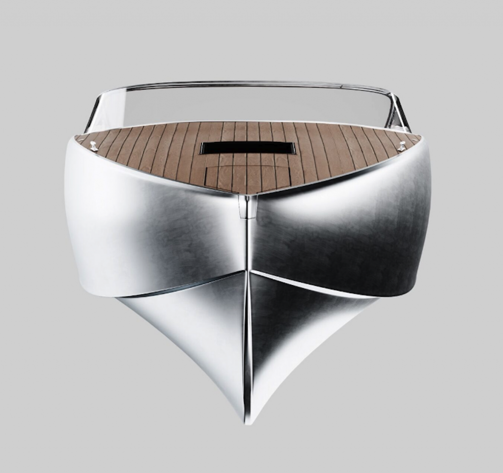 the new Sarvo 37 electric boat is one of the most beautiful water crafts ever made. It is made of polished aluminum, wood and leather.