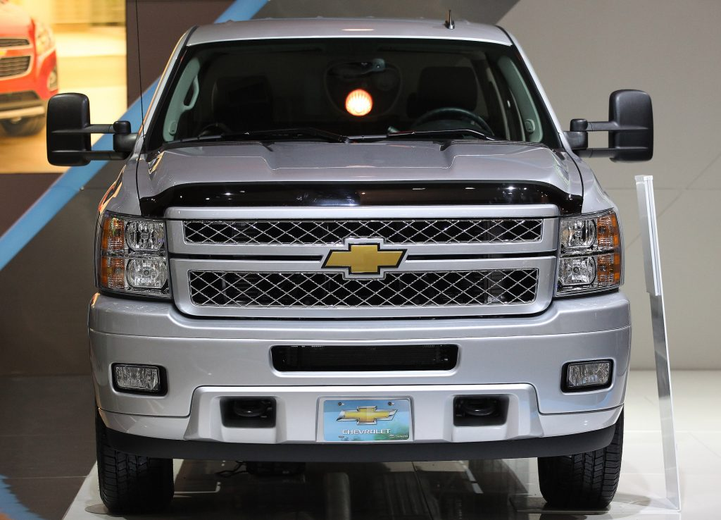 Chevy Silverado 2500 HD pickup truck on display