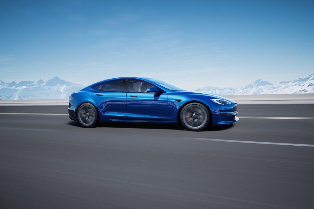 A blue Tesla Model S EV sedan