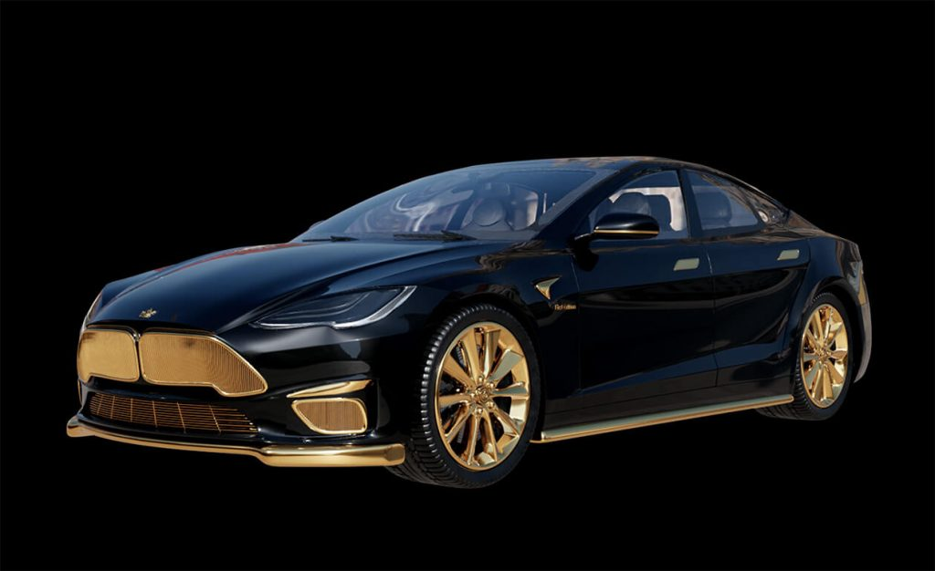 Caviar 24K gold Tesla Model S front 3/4 view