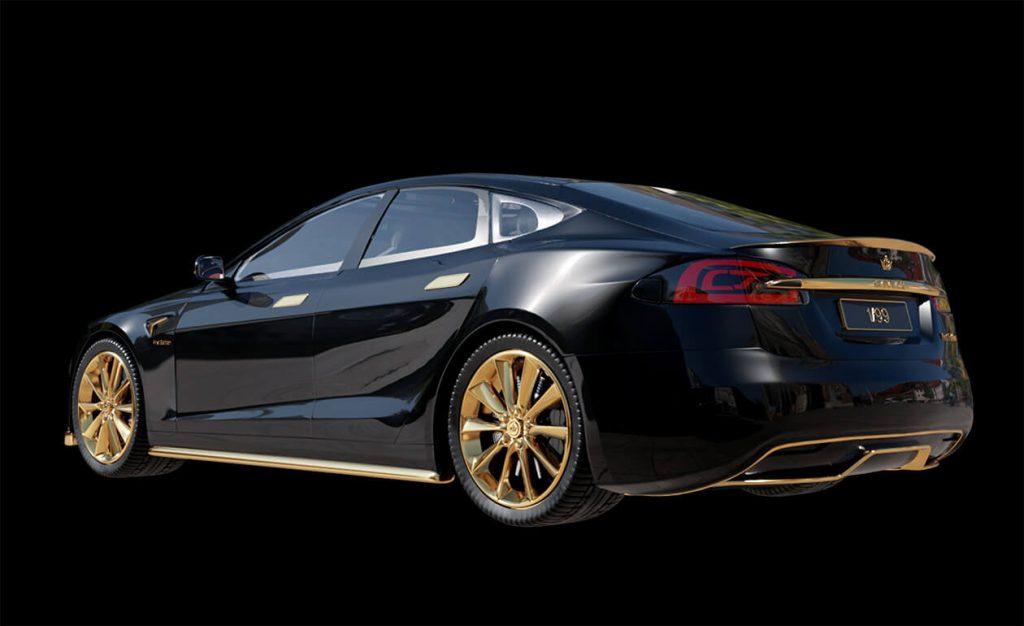 Caviar 24K gold Tesla Model S rear 3/4 view