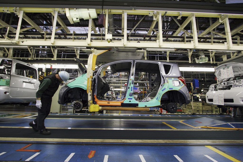 A Toyota frame on the assembly line