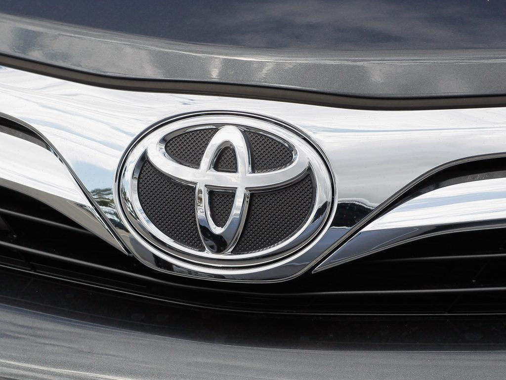 A Toyota emblem on a front grille