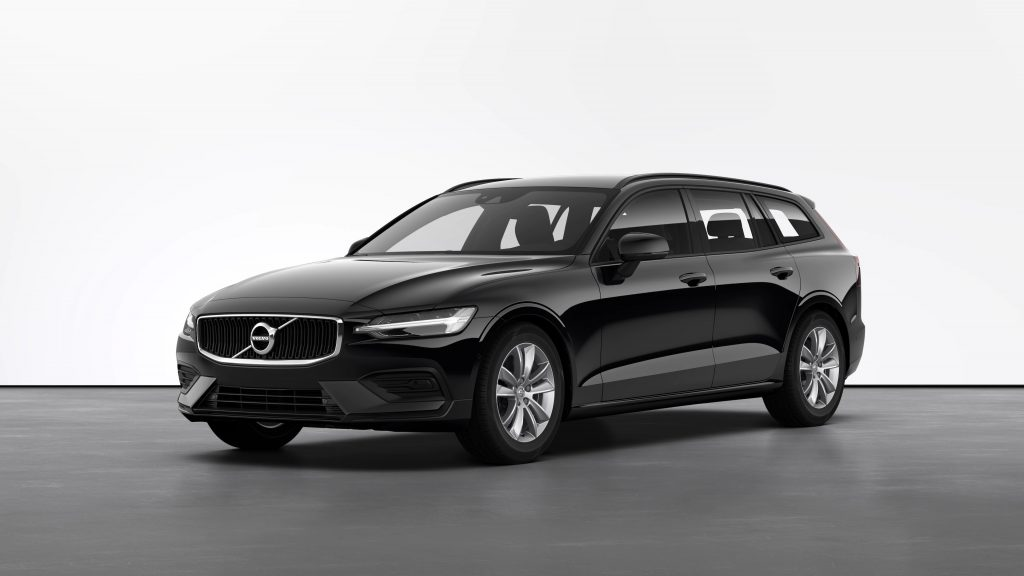 The black Volvo V60 with Momentum pack on Volvo's website with a white backdrop.