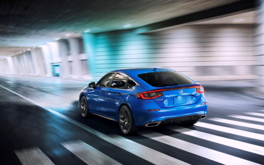 The rear of the blue 2022 Honda Civic hatchback